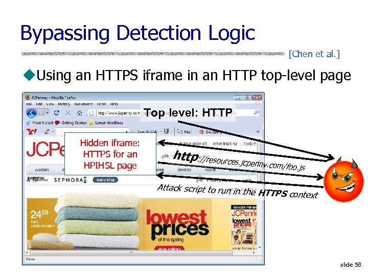 Bypassing Detection Logic [Chen et al. ] u. Using an HTTPS iframe in an
