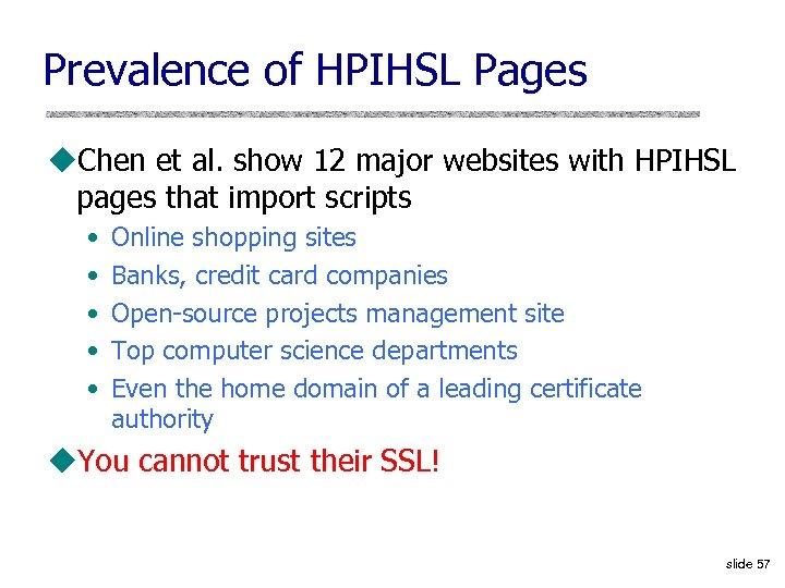 Prevalence of HPIHSL Pages u. Chen et al. show 12 major websites with HPIHSL