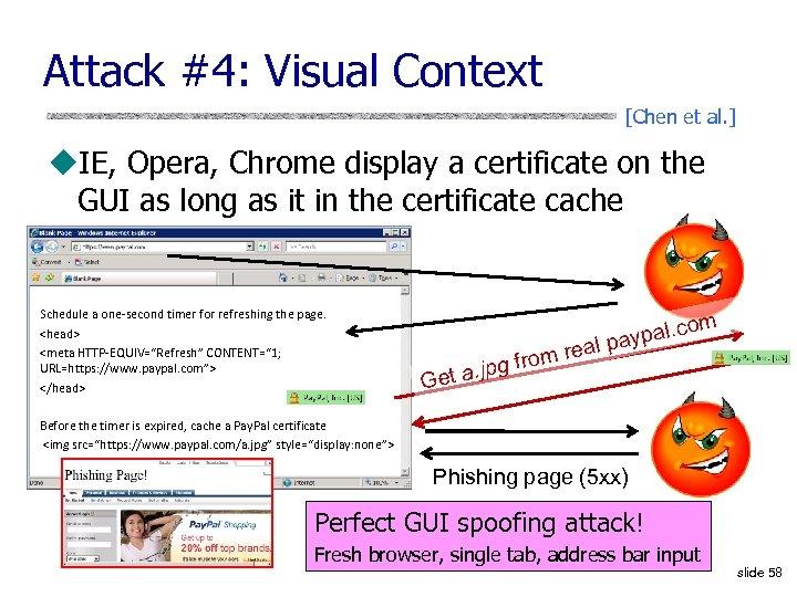Attack #4: Visual Context [Chen et al. ] u. IE, Opera, Chrome display a