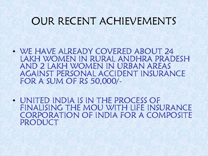 OUR RECENT ACHIEVEMENTS • WE HAVE ALREADY COVERED ABOUT 24 LAKH WOMEN IN RURAL