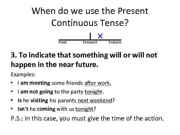 When do we use the Present Continuous Tense? 3. To indicate that something will
