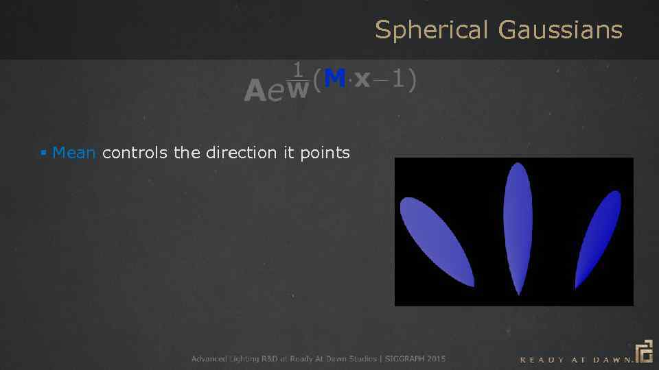 Spherical Gaussians § Mean controls the direction it points § Width controls the falloff