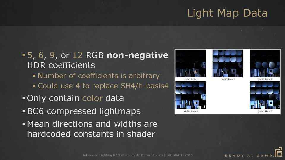 Light Map Data § 5, 6, 9, or 12 RGB non-negative HDR coefficients §