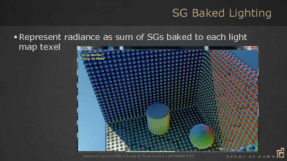SG Baked Lighting § Represent radiance as sum of SGs baked to each light