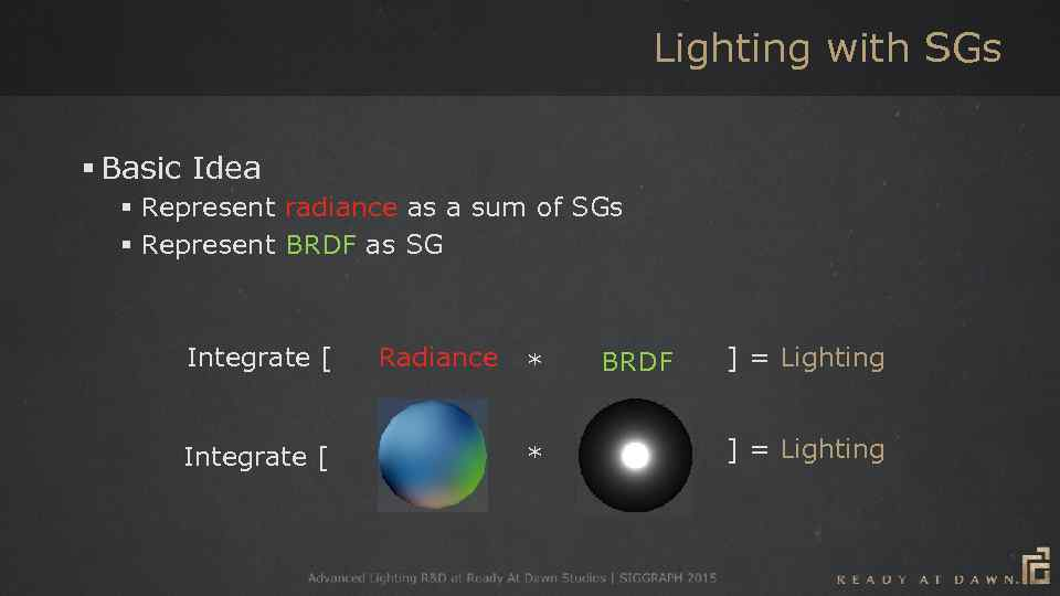 Lighting with SGs § Basic Idea § Represent radiance as a sum of SGs