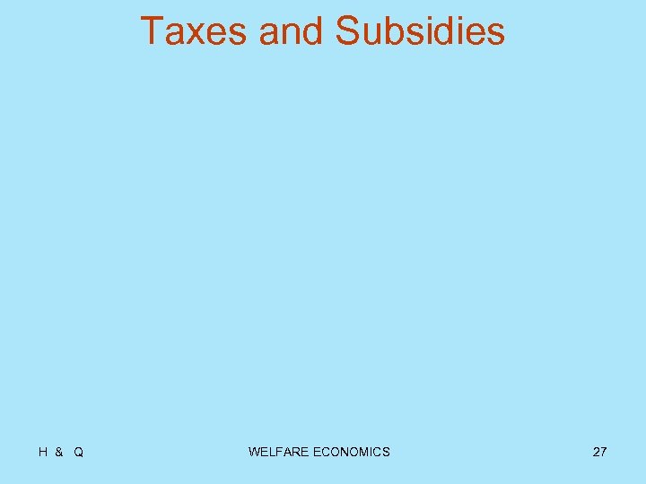 Taxes and Subsidies H & Q WELFARE ECONOMICS 27