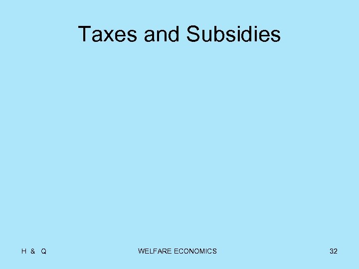 Taxes and Subsidies H & Q WELFARE ECONOMICS 32