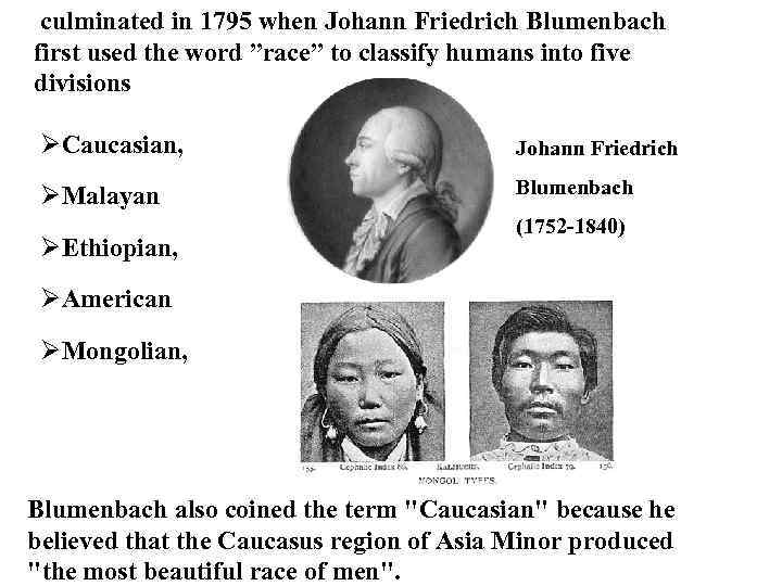 """culminated in 1795 when Johann Friedrich Blumenbach first used the word """"race"""" to classify"""