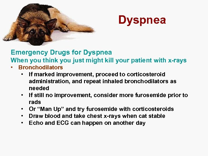 Dyspnea Emergency Drugs for Dyspnea When you think you just might kill your patient