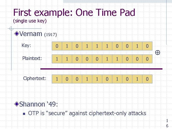 First example: One Time Pad (single use key) Vernam (1917) Key: 0 1 1