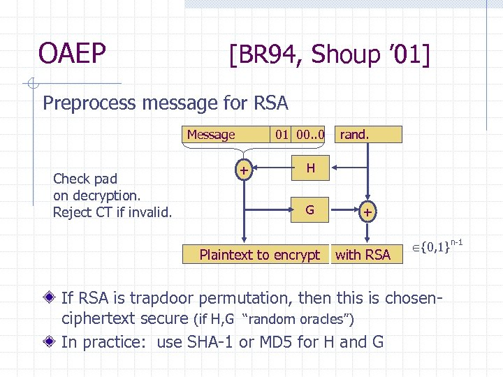 OAEP [BR 94, Shoup ' 01] Preprocess message for RSA Message Check pad on