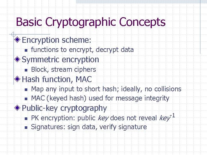 Basic Cryptographic Concepts Encryption scheme: n functions to encrypt, decrypt data Symmetric encryption n