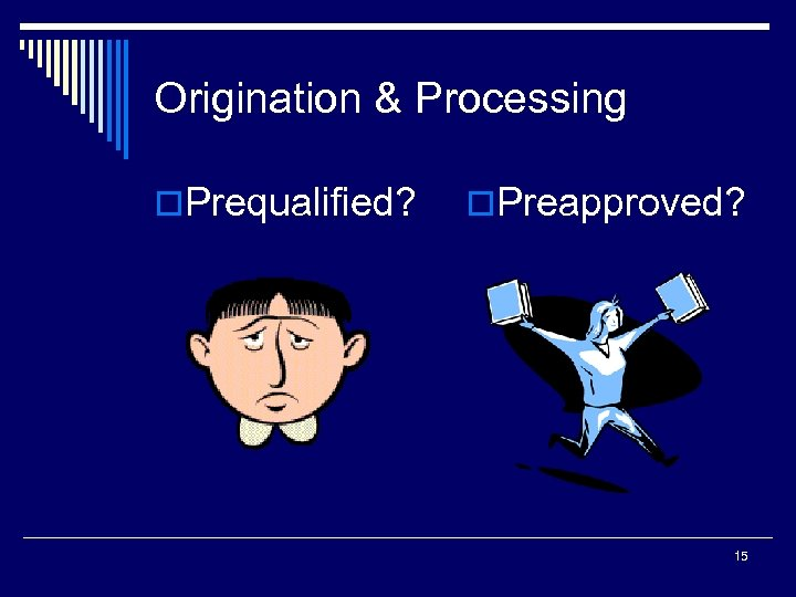 Origination & Processing o. Prequalified? o. Preapproved? 15