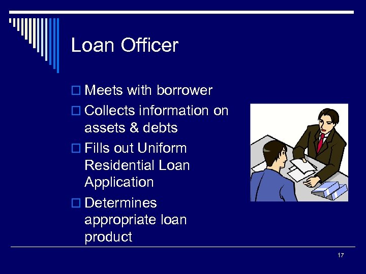 Loan Officer o Meets with borrower o Collects information on assets & debts o