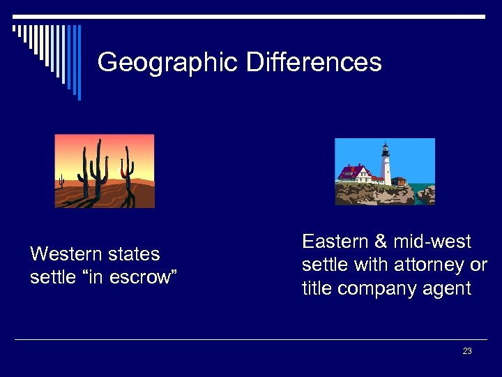 "Geographic Differences Western states settle ""in escrow"" Eastern & mid-west settle with attorney or"
