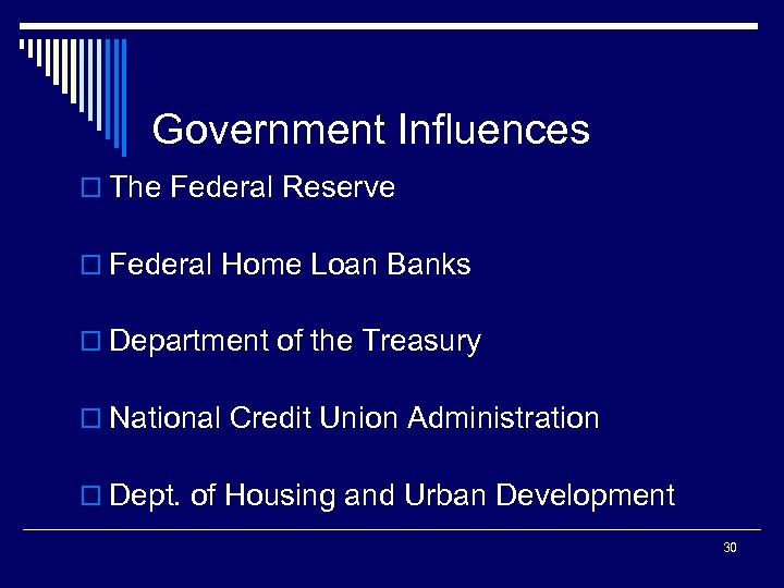Government Influences o The Federal Reserve o Federal Home Loan Banks o Department of