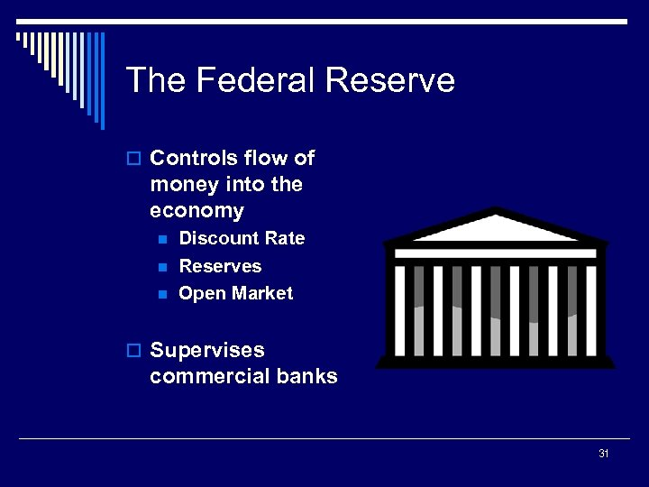 The Federal Reserve o Controls flow of money into the economy n n n