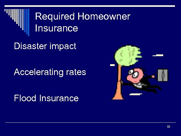 Required Homeowner Insurance Disaster impact Accelerating rates Flood Insurance 50