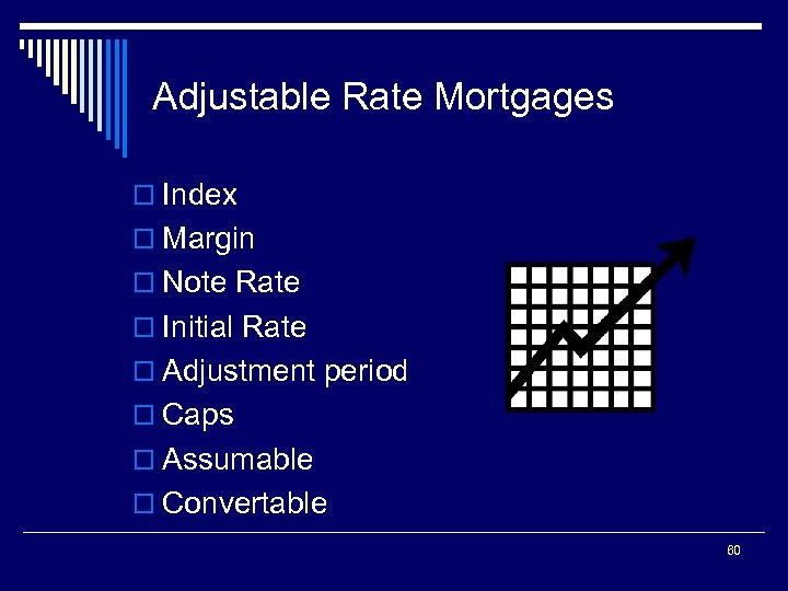 Adjustable Rate Mortgages o Index o Margin o Note Rate o Initial Rate o