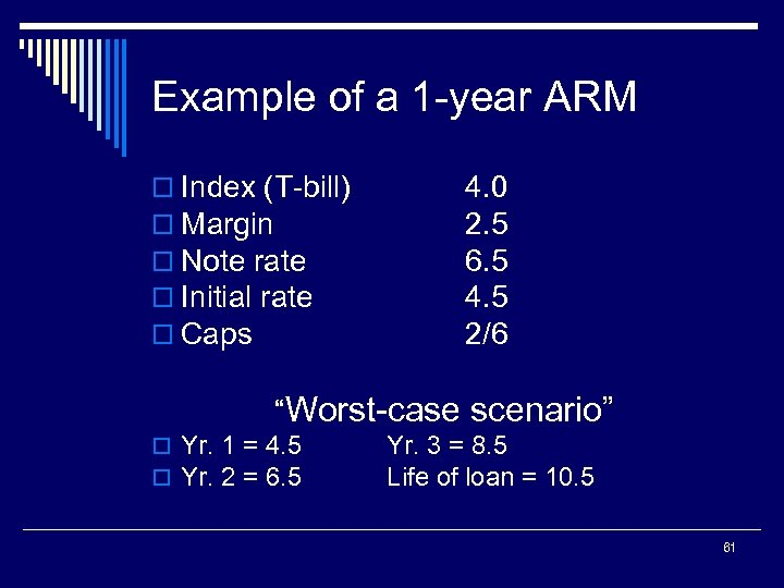 Example of a 1 -year ARM o Index (T-bill) o Margin o Note rate