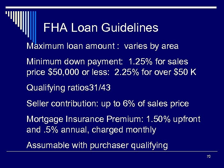 FHA Loan Guidelines Maximum loan amount : varies by area Minimum down payment: 1.
