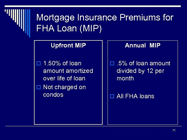 Mortgage Insurance Premiums for FHA Loan (MIP) Upfront MIP o 1. 50% of loan