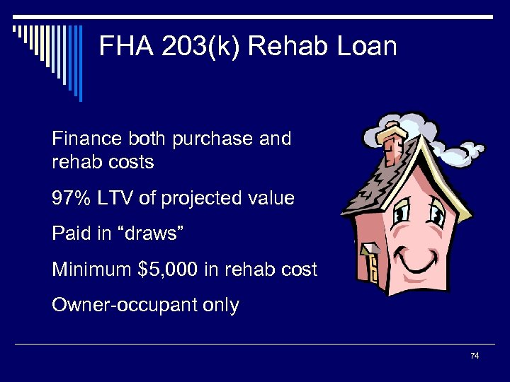 FHA 203(k) Rehab Loan Finance both purchase and rehab costs 97% LTV of projected