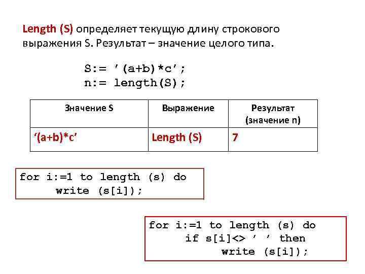 Length (S) определяет текущую длину строкового выражения S. Результат – значение целого типа. S: