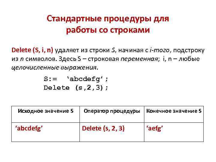 Стандартные процедуры для работы со строками Delete (S, i, n) удаляет из строки S,