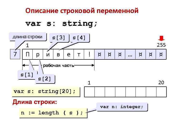 Описание строковой переменной var s: string; длина строки s[4] s[3] 255 1 7 П
