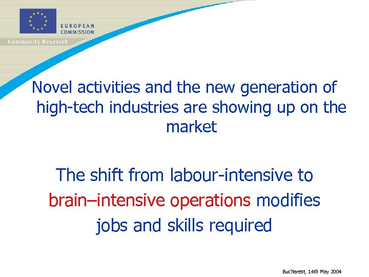 Novel activities and the new generation of high-tech industries are showing up on the
