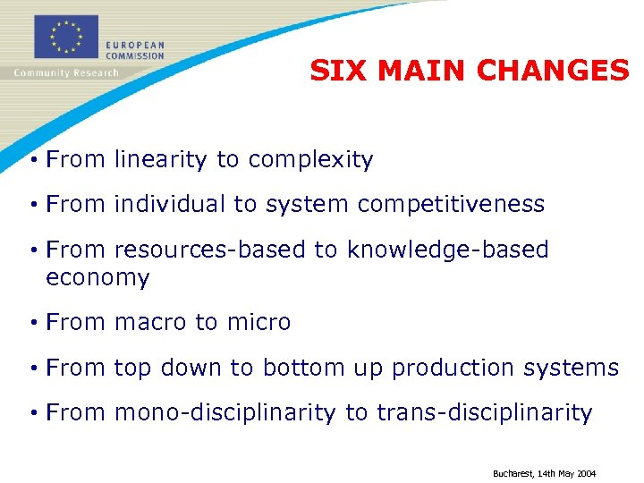 SIX MAIN CHANGES • From linearity to complexity • From individual to system competitiveness