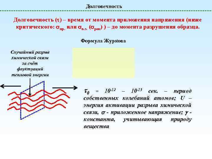Долговечность ( ) – время от момента приложения напряжения (ниже критического: пр. или в.