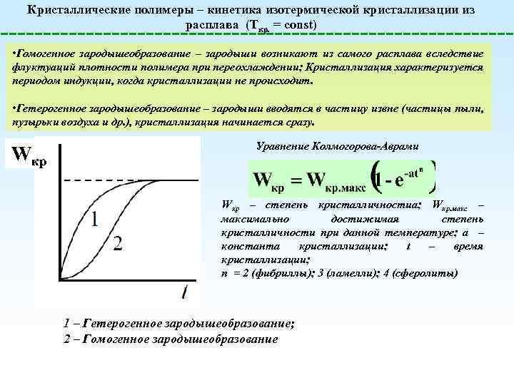 Кристаллические полимеры – кинетика изотермической кристаллизации из расплава (Tкр. = const) • Гомогенное зародышеобразование