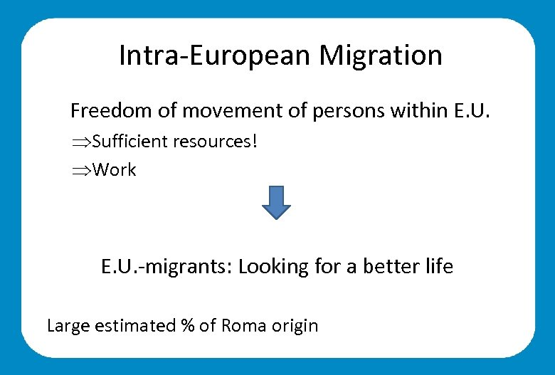 Intra-European Migration Freedom of movement of persons within E. U. ÞSufficient resources! ÞWork