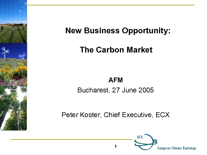 New Business Opportunity: The Carbon Market AFM Bucharest, 27 June 2005 Peter Koster, Chief