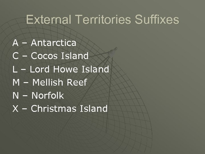 External Territories Suffixes A – Antarctica C – Cocos Island L – Lord Howe