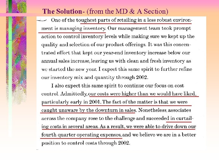 The Solution- (from the MD & A Section)