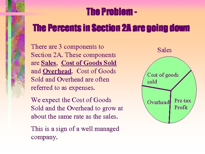 The Problem The Percents in Section 2 A are going down There are 3