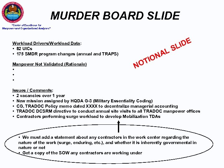"""MURDER BOARD SLIDE """"Center of Excellence for Manpower and Organizational Analyses"""" IDE L Workload"""