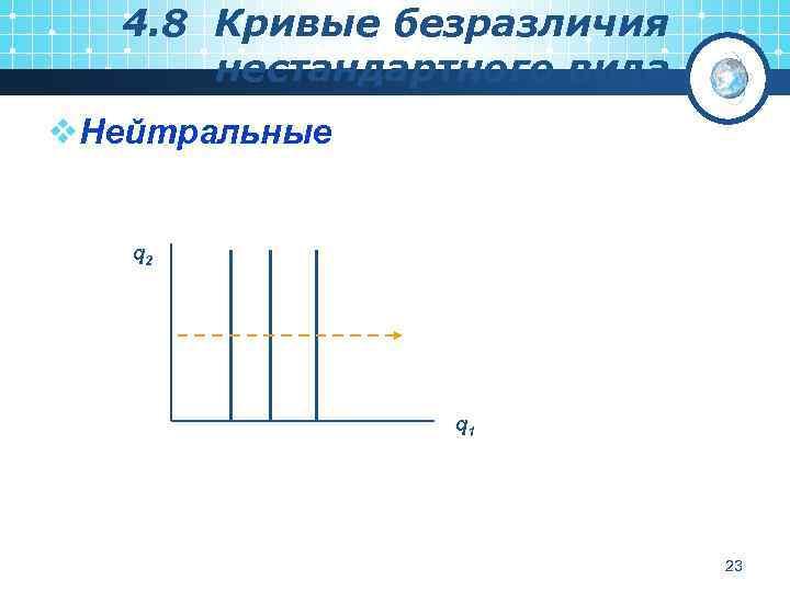 4. 8 Кривые безразличия нестандартного вида v. Нейтральные q 2 q 1 23