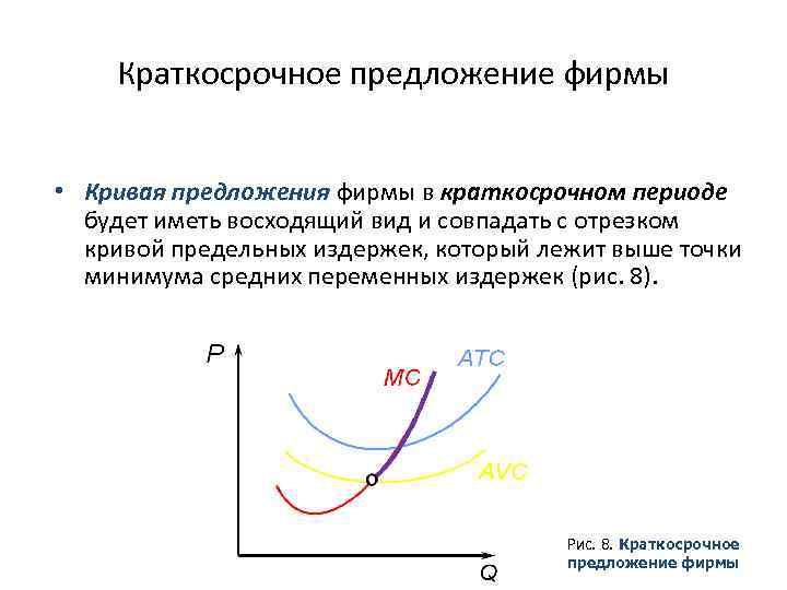 Краткосрочное предложение фирмы • Кривая предложения фирмы в краткосрочном периоде будет иметь восходящий вид