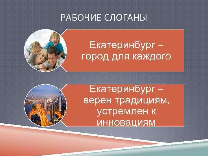 РАБОЧИЕ СЛОГАНЫ Екатеринбург – город для каждого Екатеринбург – верен традициям, устремлен к инновациям