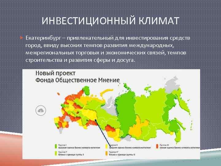 ИНВЕСТИЦИОННЫЙ КЛИМАТ Екатеринбург – привлекательный для инвестирования средств город, ввиду высоких темпов развития международных,