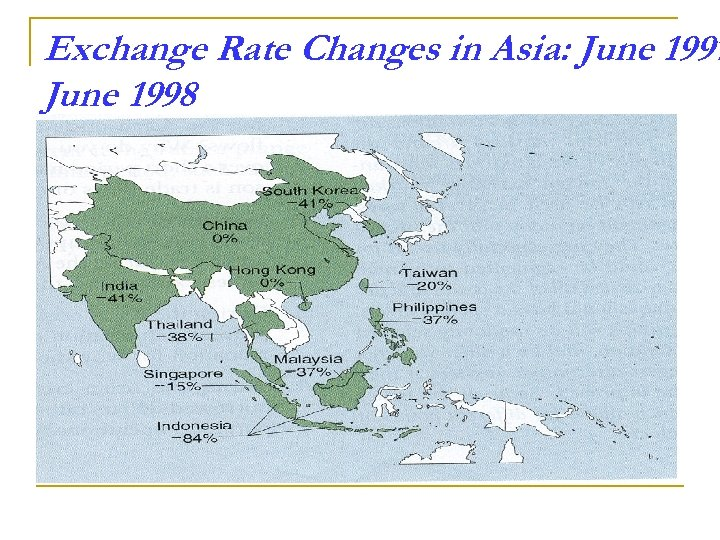 Exchange Rate Changes in Asia: June 1997 June 1998