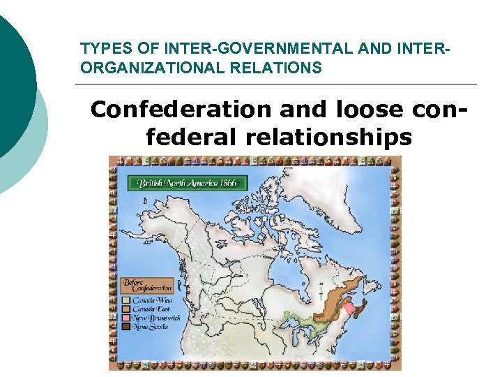 TYPES OF INTER-GOVERNMENTAL AND INTERORGANIZATIONAL RELATIONS Confederation and loose confederal relationships