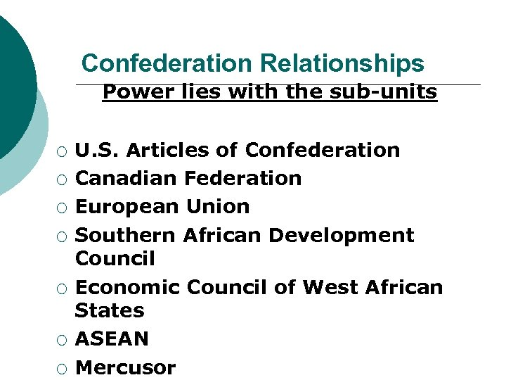 Confederation Relationships Power lies with the sub-units ¡ ¡ ¡ ¡ U. S. Articles