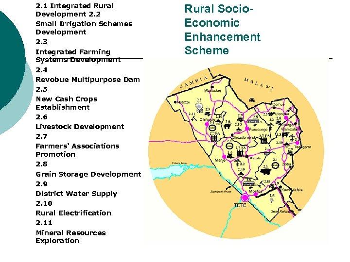 2. 1 Integrated Rural Development 2. 2 Small Irrigation Schemes Development 2. 3 Integrated
