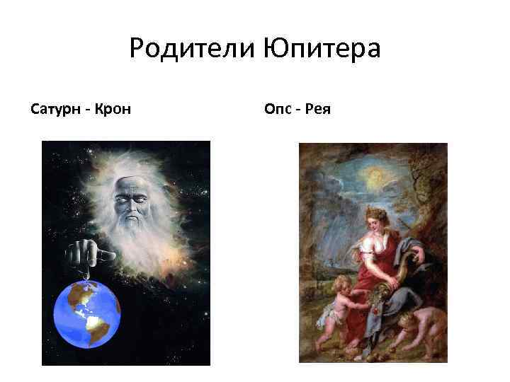 Родители Юпитера Сатурн - Крон Опс - Рея