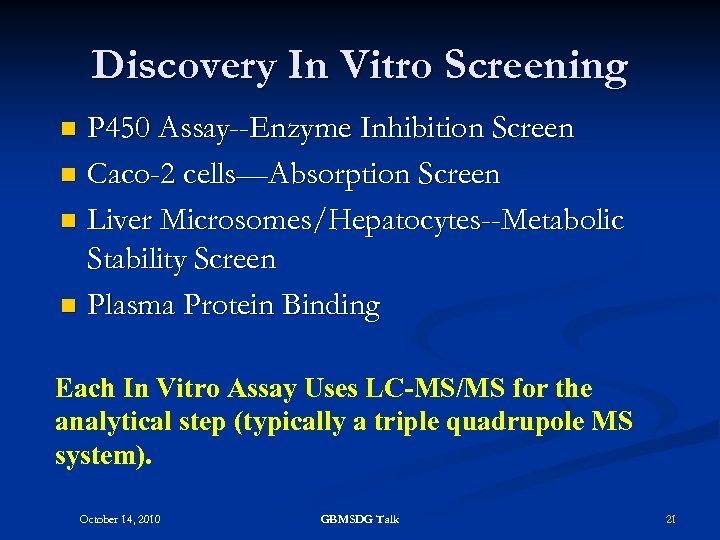 Discovery In Vitro Screening P 450 Assay--Enzyme Inhibition Screen n Caco-2 cells—Absorption Screen n